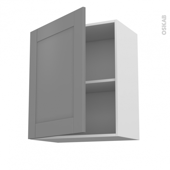 Meuble de cuisine - Haut ouvrant - FILIPEN Gris - 1 porte - L60 x H70 x P37 cm
