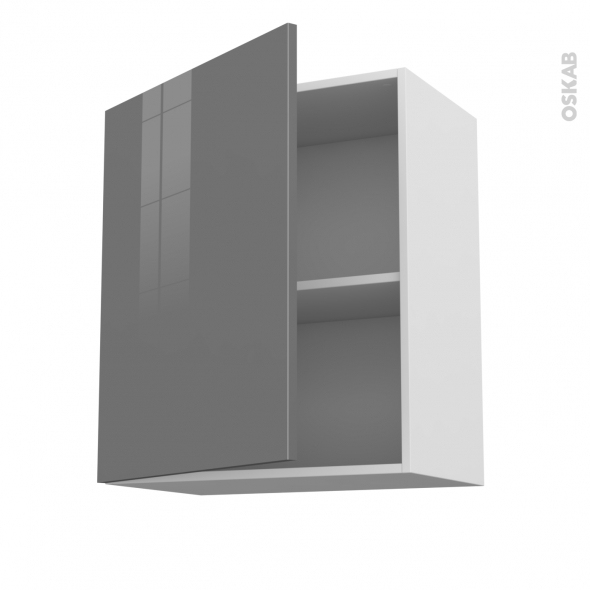 STECIA Gris - Meuble haut ouvrant H70  - 1 porte - L60xH70xP37