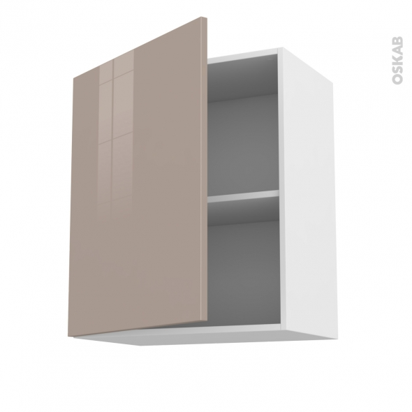 Meuble de cuisine - Haut ouvrant - KERIA Moka - 1 porte - L60 x H70 x P37 cm