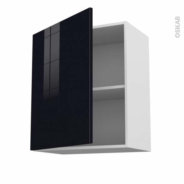 KERIA Noir - Meuble haut ouvrant H70  - 1 porte - L60xH70xP37