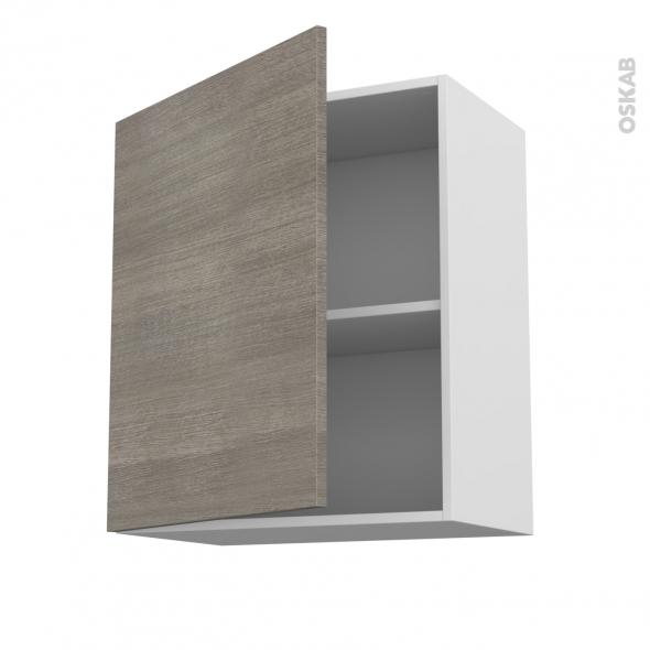 Meuble de cuisine - Haut ouvrant - STILO Noyer Naturel - 1 porte - L60 x H70 x P37 cm