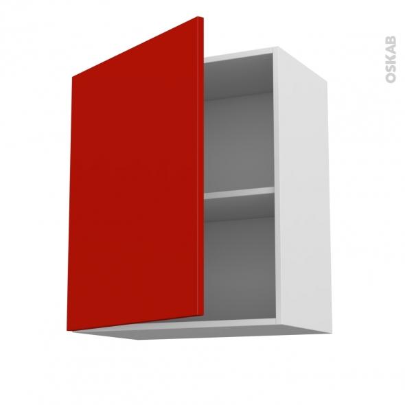 GINKO Rouge - Meuble haut ouvrant H70  - 1 porte - L60xH70xP37