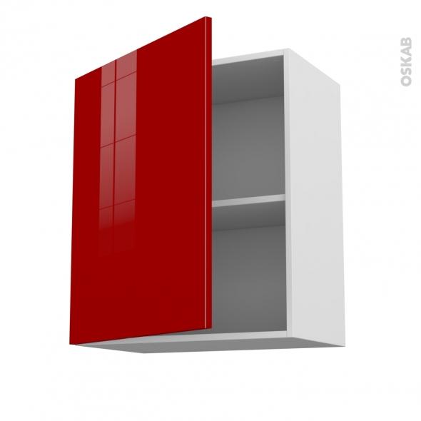 STECIA Rouge - Meuble haut ouvrant H70  - 1 porte - L60xH70xP37