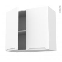 Meuble de cuisine - Haut ouvrant - PIMA Blanc - 2 portes - L80 x H70 x P37 cm