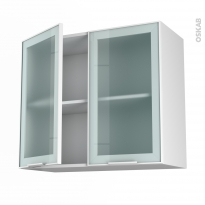 SOKLEO - Meuble haut ouvrant H70  - Façade blanche alu vitrée - 2 portes - L80xH70xP37