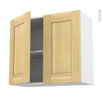 BASILIT Bois Brut - Meuble haut ouvrant H70  - 2 portes - L80xH70xP37