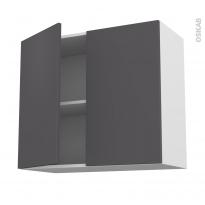 Meuble de cuisine - Haut ouvrant - GINKO Gris - 2 portes - L80 x H70 x P37 cm