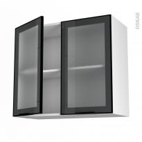 SOKLEO - Meuble haut ouvrant H70  - Façade noire alu vitrée - 2 portes - L80xH70xP37