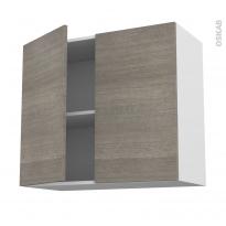 Meuble de cuisine - Haut ouvrant - STILO Noyer Naturel - 2 portes - L80 x H70 x P37 cm