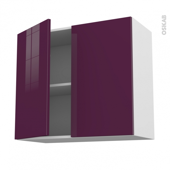 Meuble de cuisine - Haut ouvrant - KERIA Aubergine - 2 portes - L80 x H70 x P37 cm