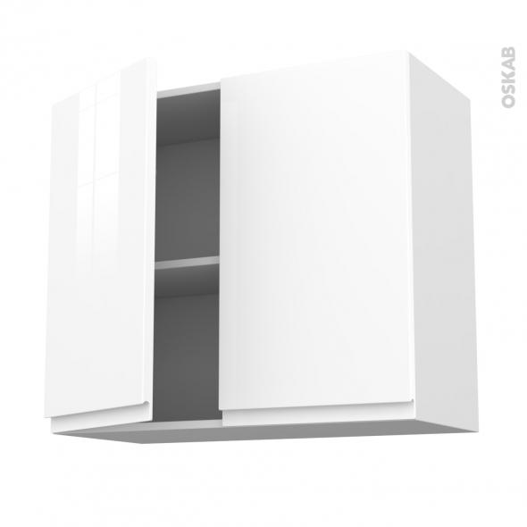 Meuble de cuisine - Haut ouvrant - IPOMA Blanc brillant - 2 portes - L80 x H70 x P37 cm