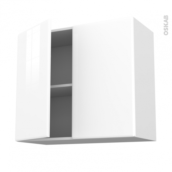 Meuble de cuisine - Haut ouvrant - IRIS Blanc - 2 portes - L80 x H70 x P37 cm