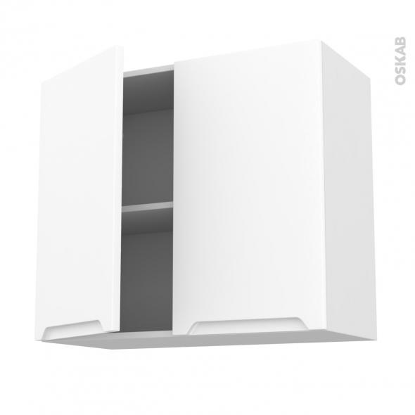 PIMA Blanc - Meuble haut ouvrant H70  - 2 portes - L80xH70xP37