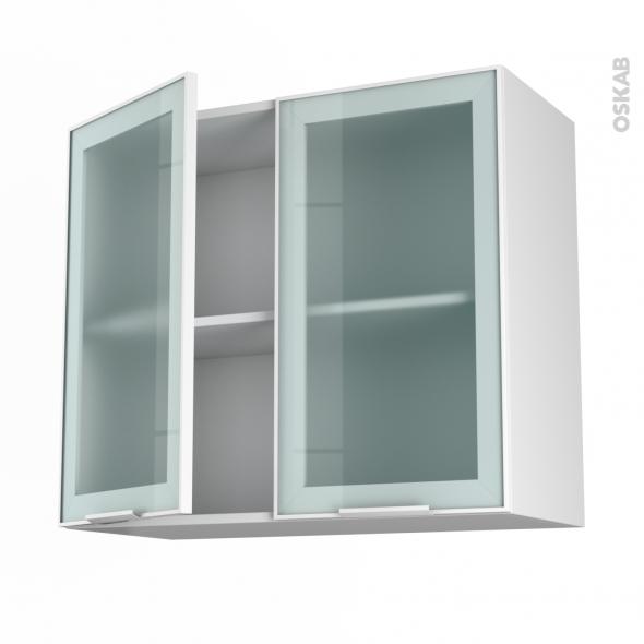 meuble de cuisine haut ouvrant vitré façade blanche alu 2 portes ... - Meuble Haut Cuisine Vitre
