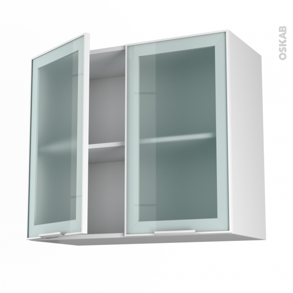 meuble de cuisine haut ouvrant vitré façade blanche alu 2 portes ... - Facade Meuble Cuisine