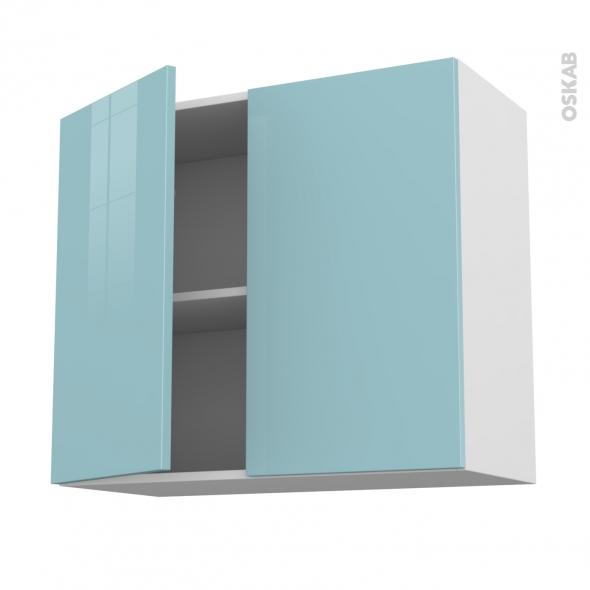 Meuble de cuisine - Haut ouvrant - KERIA Bleu - 2 portes - L80 x H70 x P37 cm