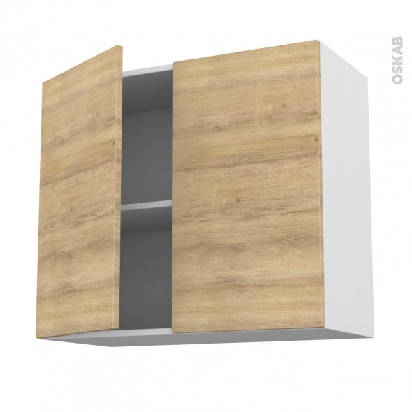 Meuble de cuisine - Haut ouvrant - HOSTA Chêne naturel - 2 portes - L80 x H70 x P37 cm