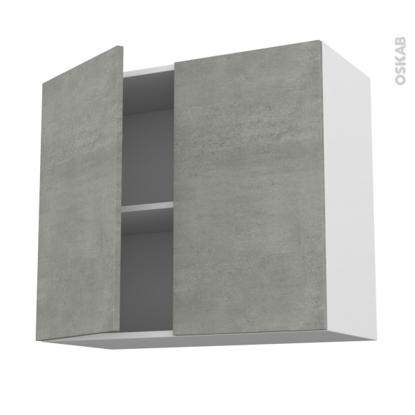 Meuble de cuisine - Haut ouvrant - FAKTO Béton - 2 portes - L80 x H70 x P37 cm