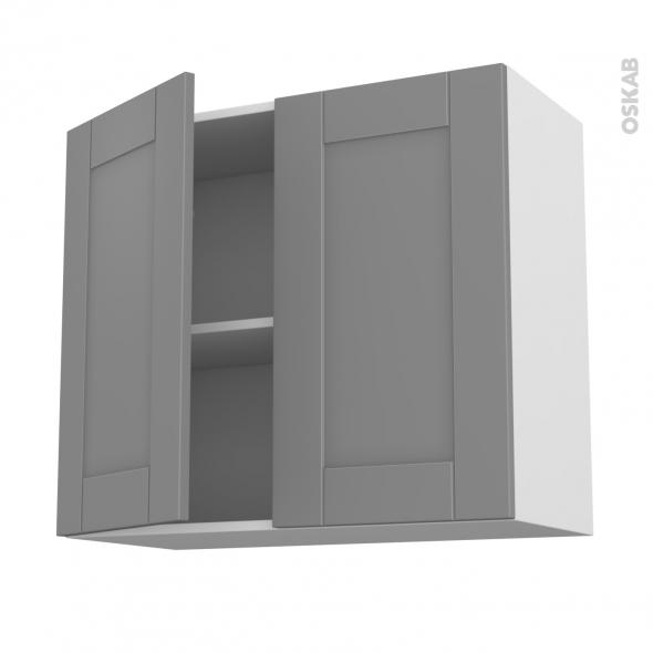 Meuble de cuisine - Haut ouvrant - FILIPEN Gris - 2 portes - L80 x H70 x P37 cm