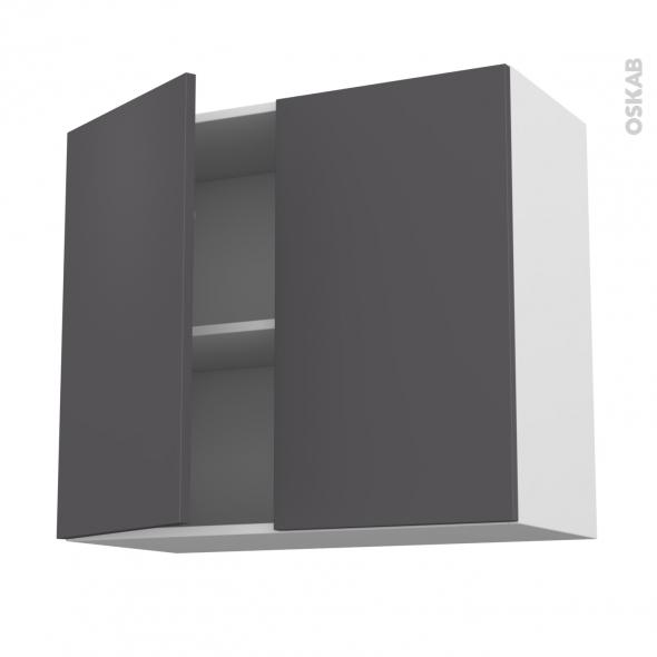 GINKO Gris - Meuble haut ouvrant H70  - 2 portes - L80xH70xP37