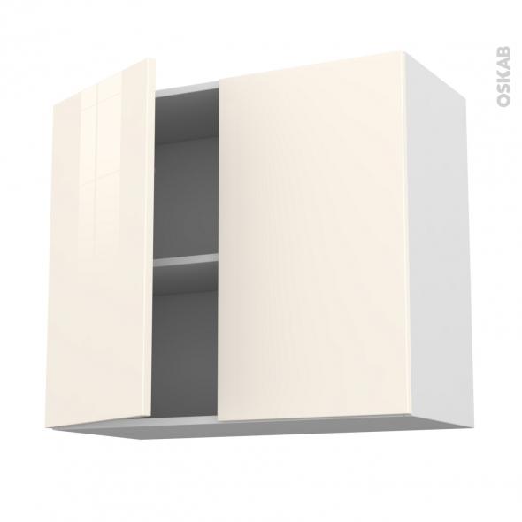Meuble de cuisine - Haut ouvrant - KERIA Ivoire - 2 portes - L80 x H70 x P37 cm