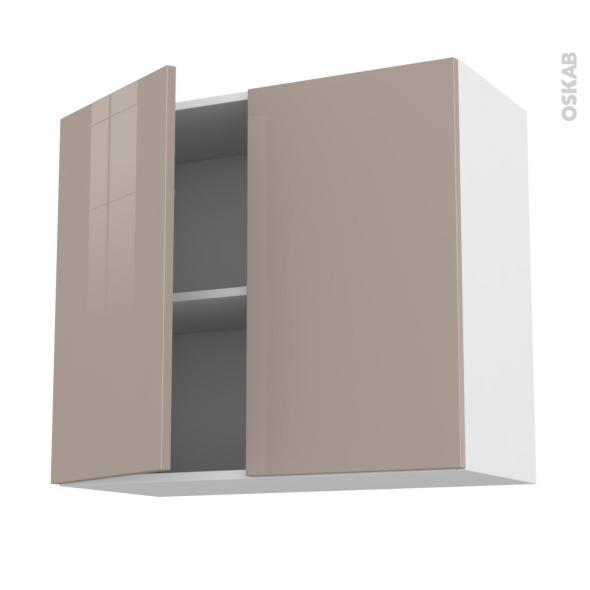 Meuble de cuisine - Haut ouvrant - KERIA Moka - 2 portes - L80 x H70 x P37 cm