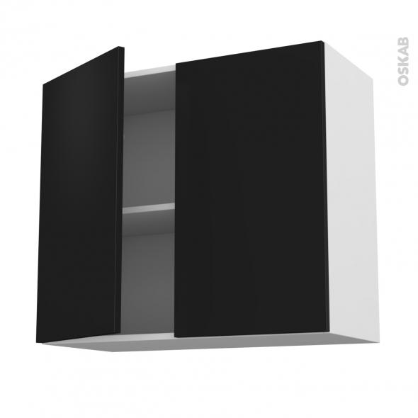 Meuble de cuisine - Haut ouvrant - GINKO Noir - 2 portes - L80 x H70 x P37 cm