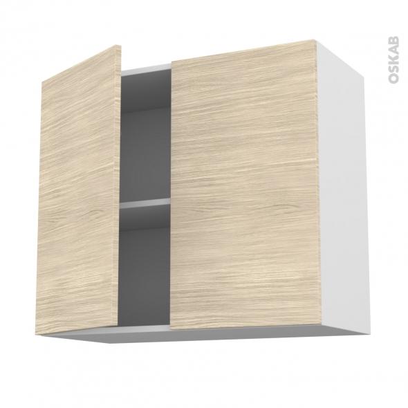 Meuble de cuisine - Haut ouvrant - STILO Noyer Blanchi - 2 portes - L80 x H70 x P37 cm