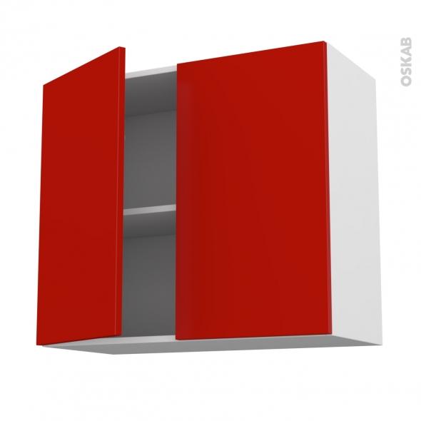 GINKO Rouge - Meuble haut ouvrant H70  - 2 portes - L80xH70xP37