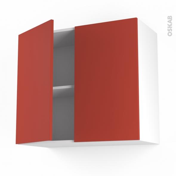 HELIO Rouge - Meuble haut ouvrant H70  - 2 portes - L80xH70xP37