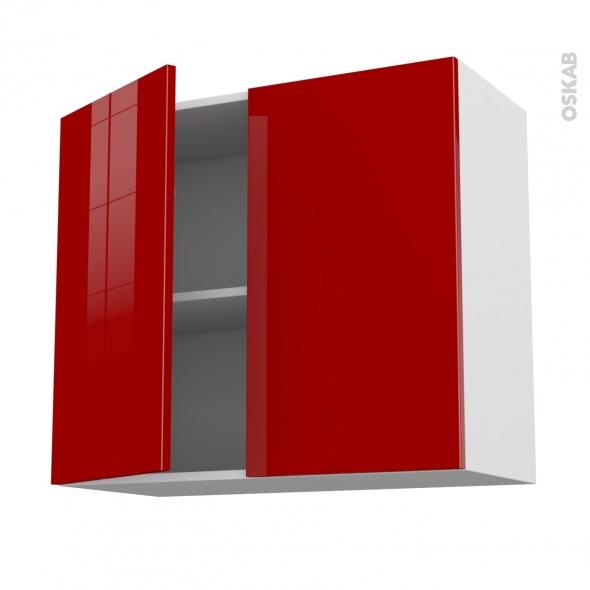 Meuble de cuisine - Haut ouvrant - STECIA Rouge - 2 portes - L80 x H70 x P37 cm