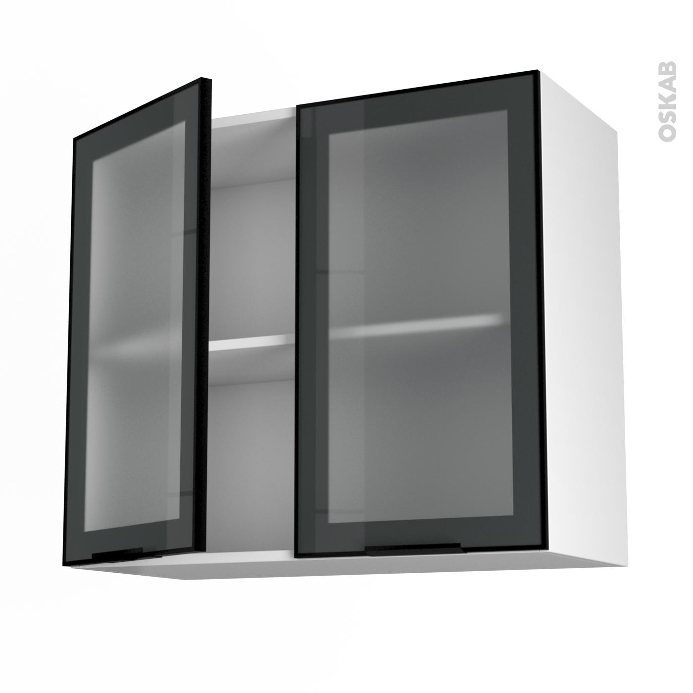 meuble haut & bas cuisine vitré, porte vitrée noir, blanc ou alu ... - Meuble Haut Vitre Cuisine