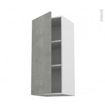 Meuble de cuisine - Haut ouvrant - FAKTO Béton - 1 porte - L40 x H92 x P37 cm