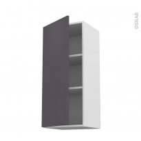 Meuble de cuisine - Haut ouvrant - GINKO Gris - 1 porte - L40 x H92 x P37 cm