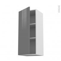 Meuble de cuisine - Haut ouvrant - STECIA Gris - 1 porte - L40 x H92 x P37 cm