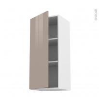 Meuble de cuisine - Haut ouvrant - KERIA Moka - 1 porte - L40 x H92 x P37 cm