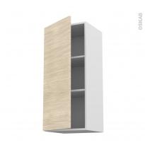 Meuble de cuisine - Haut ouvrant - STILO Noyer Blanchi - 1 porte - L40 x H92 x P37 cm