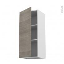 Meuble de cuisine - Haut ouvrant - STILO Noyer Naturel - 1 porte - L40 x H92 x P37 cm
