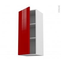 Meuble de cuisine - Haut ouvrant - STECIA Rouge - 1 porte - L40 x H92 x P37 cm
