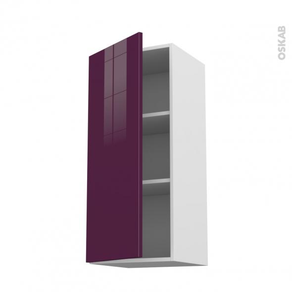 Meuble de cuisine - Haut ouvrant - KERIA Aubergine - 1 porte - L40 x H92 x P37 cm