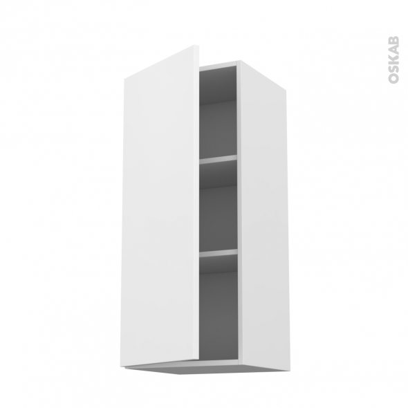 Meuble de cuisine - Haut ouvrant - GINKO Blanc - 1 porte - L40 x H92 x P37 cm