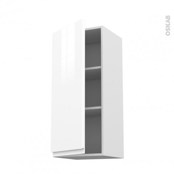 Meuble de cuisine - Haut ouvrant - IPOMA Blanc - 1 porte - L40 x H92 x P37 cm