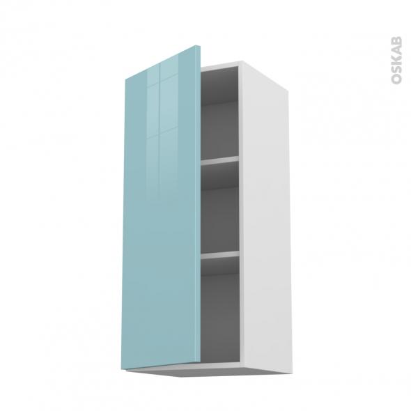 Meuble de cuisine - Haut ouvrant - KERIA Bleu - 1 porte - L40 x H92 x P37 cm
