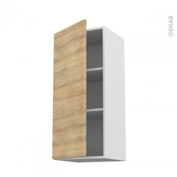 Meuble de cuisine - Haut ouvrant - HOSTA Chêne naturel - 1 porte - L40 x H92 x P37 cm
