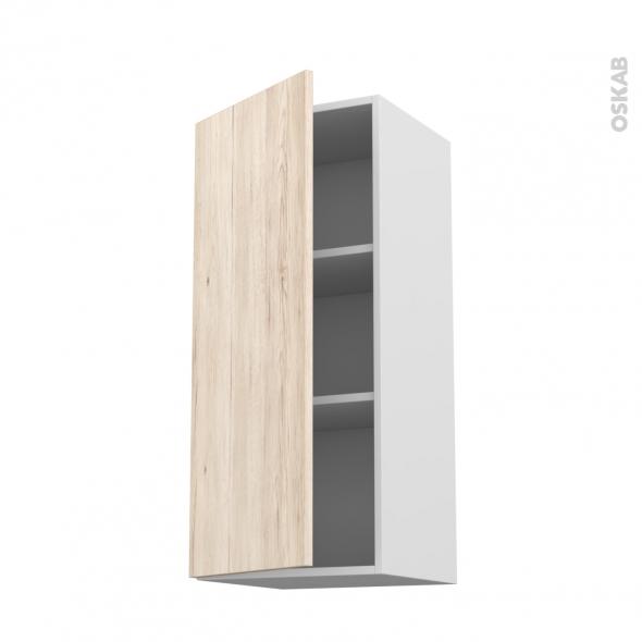 Meuble de cuisine - Haut ouvrant - IKORO Chêne clair - 1 porte - L40 x H92 x P37 cm