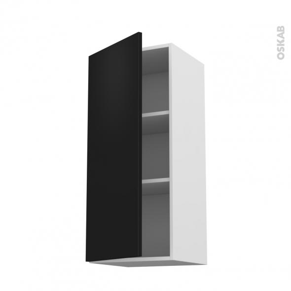 Meuble de cuisine - Haut ouvrant - GINKO Noir - 1 porte - L40 x H92 x P37 cm