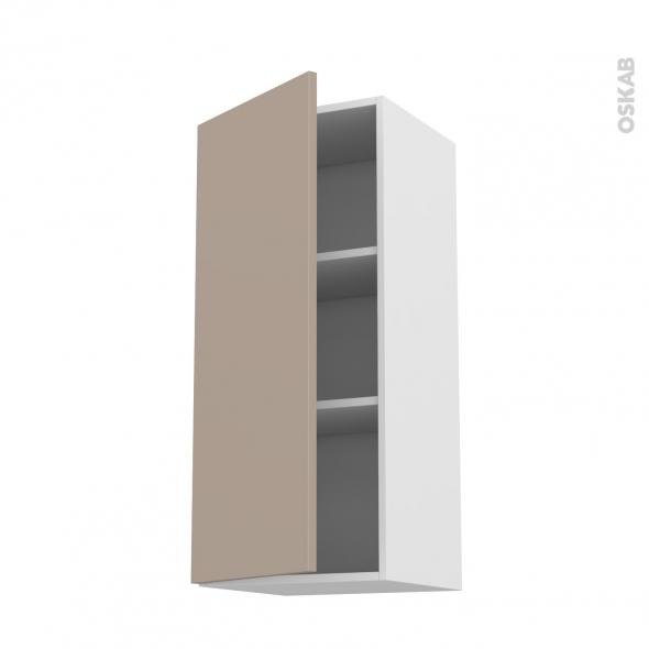 Meuble de cuisine - Haut ouvrant - GINKO Taupe - 1 porte - L40 x H92 x P37 cm