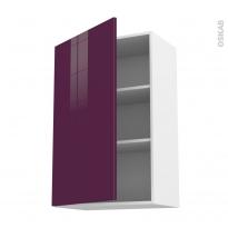 Meuble de cuisine - Haut ouvrant - KERIA Aubergine - 1 porte - L60 x H92 x P37 cm