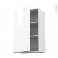 Meuble de cuisine - Haut ouvrant - IRIS Blanc - 1 porte - L60 x H92 x P37 cm