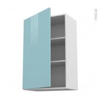 Meuble de cuisine - Haut ouvrant - KERIA Bleu - 1 porte - L60 x H92 x P37 cm